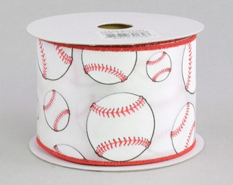 Baseball Print Ribbon ~ 2.5 inchWired Baseball Ribbon ~ Red & White Wired Edge Baseball Ribbon ~ Wired Ball Ribbon ~ 3 Yards
