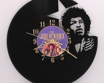 Handcarved Jimi Hendrix vinyl record clock, record clock, vinyl art clock, vinyl wall clock, record wall clock, vinyl record clock