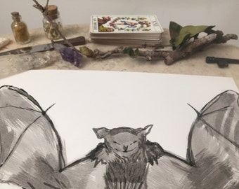 Batty - Original Black India Ink Painting 9in x 12in Home decor Spirit Animal Witchy Dreams Cute Winged Friend Flying Fuzzy Chihuahua