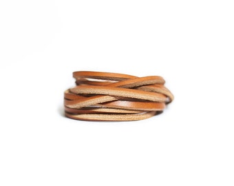 Light brown chain leather bracelet