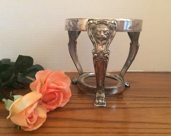 Antique silver plate lion chafing dish stand  warmer