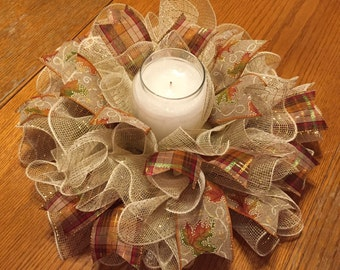 Fall/Autumn Deco Mesh Centerpiece/Candle Holder in Tan