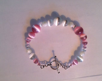Pink and white cats eye bracelet