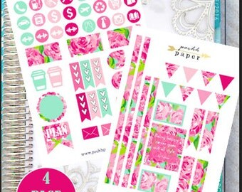 Lilly Pulitzer First Impressions Inspired Sticker Kit // Planner Stickers // Vertical Life Planner // Designer Kit