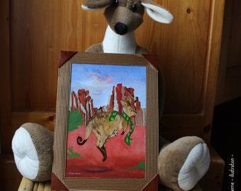 Original painting gouache: kangaroos and scarf