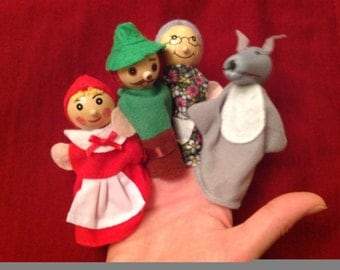 Hand Puppets - Red Riding Hood - Wooden heads