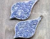 Swirl Leaf Pointed Teardrop Porcelain Pendants