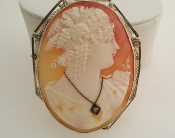 14K White Cameo Brooch, Pendant,  58 x 48 mm, 1930's, #8256