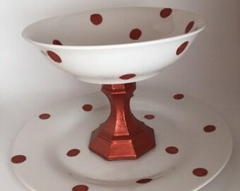 Copper & white polka dot storage