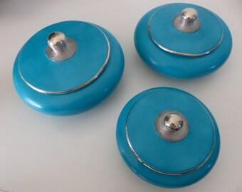 Lot of 3 round boxes tadelakt emerald blue decoration