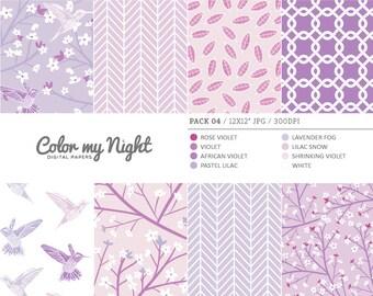 80% OFF SALE Digital Paper Violet 'Pack04' Flowers & Birds Patterns for Scrapbook, Invitations, Crafts...