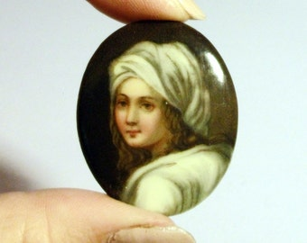 Victorian Portrait Brooch Girl in White 1860s Antique Cameo Hand Painted Porcelain Ceramic Safety Chain