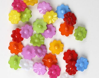 Flower Buttons, 15mm Buttons, Flower 15mm Buttons, Acrylic Flower Buttons, Plastic Buttons, Daisy Buttons, Floral Buttons, Button Packs,