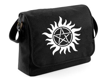 Supernatural - winchesters - messenger bag trap demons - black messenger