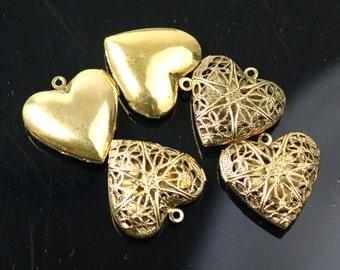 5 pcs Antique GOLD Heart Filigree Locket Pendant Charm - 25mm 1 inch 8mm thickness- Brass Locket Pendant Charm - Ship from California USA