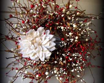 """18"""" Red and Cream Berry Wreath - with Burlap Flower"""