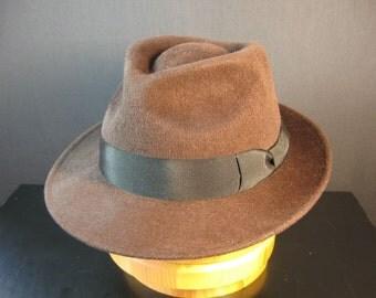 """Felt Hat """"Fedora Brown"""", men's fedora hat in brown, Classic Fedora Hat"""