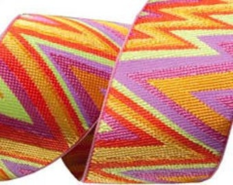 Kaffe Fassett Flame Stitch Ribbon for Renaissance Ribbons  kf-07/38mm woven jacquard ribbons