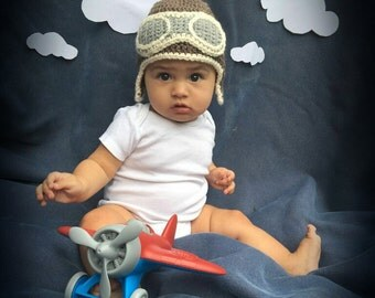 Baby aviator hat, adult aviator hat, baby photo prop, baby beanie, crochet baby beanie, newborn hat, child hat, aviator beanie
