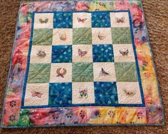 Quilt with Machine Embroidered Butterfly Wall Hanging