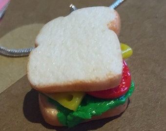 Cheese, lettace and tomatoe sandwich necklace