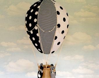 Monochrome, hot air balloon lightshade, kids decor, nursery hanging decoration
