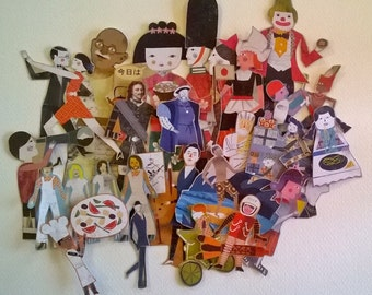 24 Hand cut paper figures from around the world