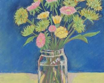 Green Mums, Original Art Floral Pastel Painting