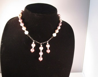 Necklace. Pink Pearls. Sterling Silver.