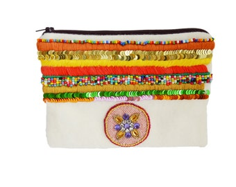 Ethnic clutch made of felt and beads - Donoma - 16.06.16
