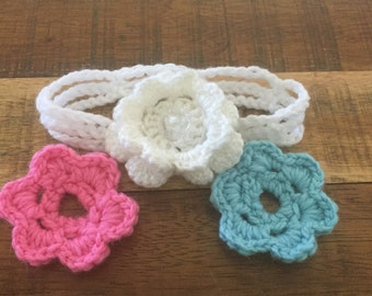 Crochet summer headband with interchangeable flowers, girls head wrap, baby head wrap