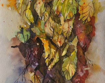 """Watercolor paint / Original Watercolor / Artwork painting / Ready to hang / 17"""" X 12"""" inch / by Janna"""