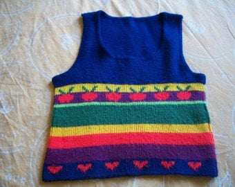 Vintage 1960's Girls Knitted Vest With Hearts & Apples. Size 8.