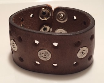 Leather cuff with bullet shells