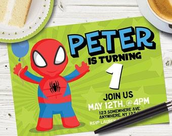 CUSTOM Designed Spiderman PARTY INVITATIONS / Spiderman Party Invitations / Spiderman Personalized Invitation / Spiderman