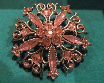 Vintage pink rhinestone brooch, rhinestone brooch, pink rhinestones