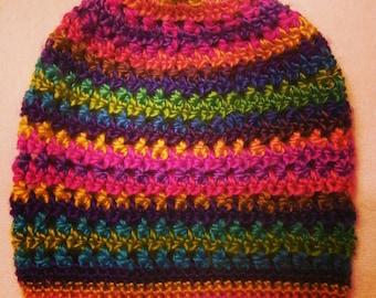 Handmade crochet tie dye slouchy beanie