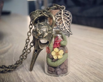 Medusa's snake potion bottle and crow Relic Necklace
