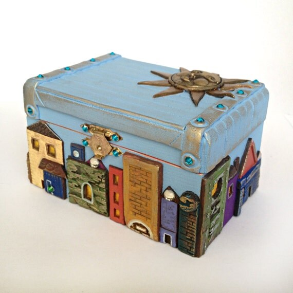 Decorative Jewelry Boxes Ideas : Nice blue city jewelry box gift boxes decorative by doshe