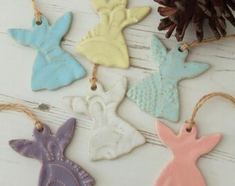 Handmade ceramic angel decoration, angel, pastels, vintage lace, ceramic door hanger, ceramic Christmas decoration, pottery decoration