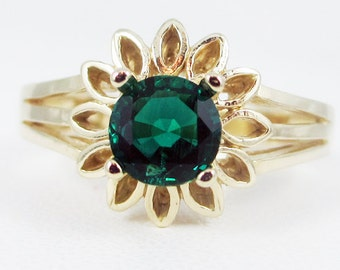 Emerald 14k Yellow Gold Sunflower Ring