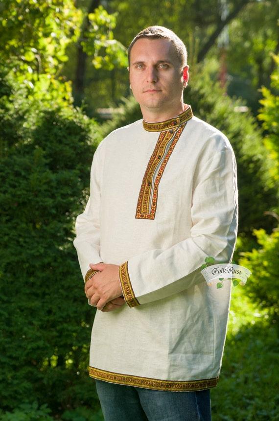 Russian traditional slavic linen shirt Kosovorotka Vladimir for men, Cossack shirt, Black shirt, Grey shirt