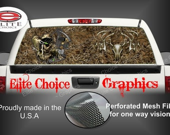Reaper Buck Skull Grass Camo Rear Window Graphic Tint Decal Sticker Truck SUV Van Car