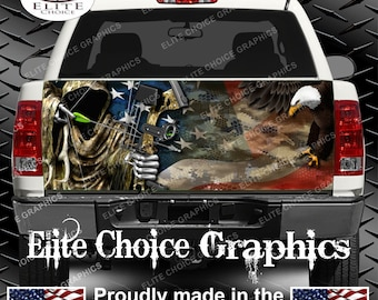 Reaper American Flag Eagle Camo Truck Tailgate Wrap Vinyl Graphic Decal Sticker Wrap