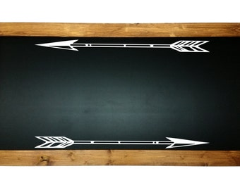 Chalk Board With Wood Frame, Vinyl Arrows