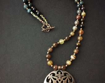 Green and copper pendant necklace