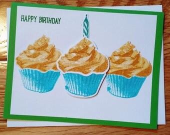 Birthday card, Cupcake card, Happy Birthday, Birthday card him, birthday card her, Birthday gift, stampin up card, her birthday card