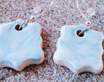 Earrings turquoise ceramic