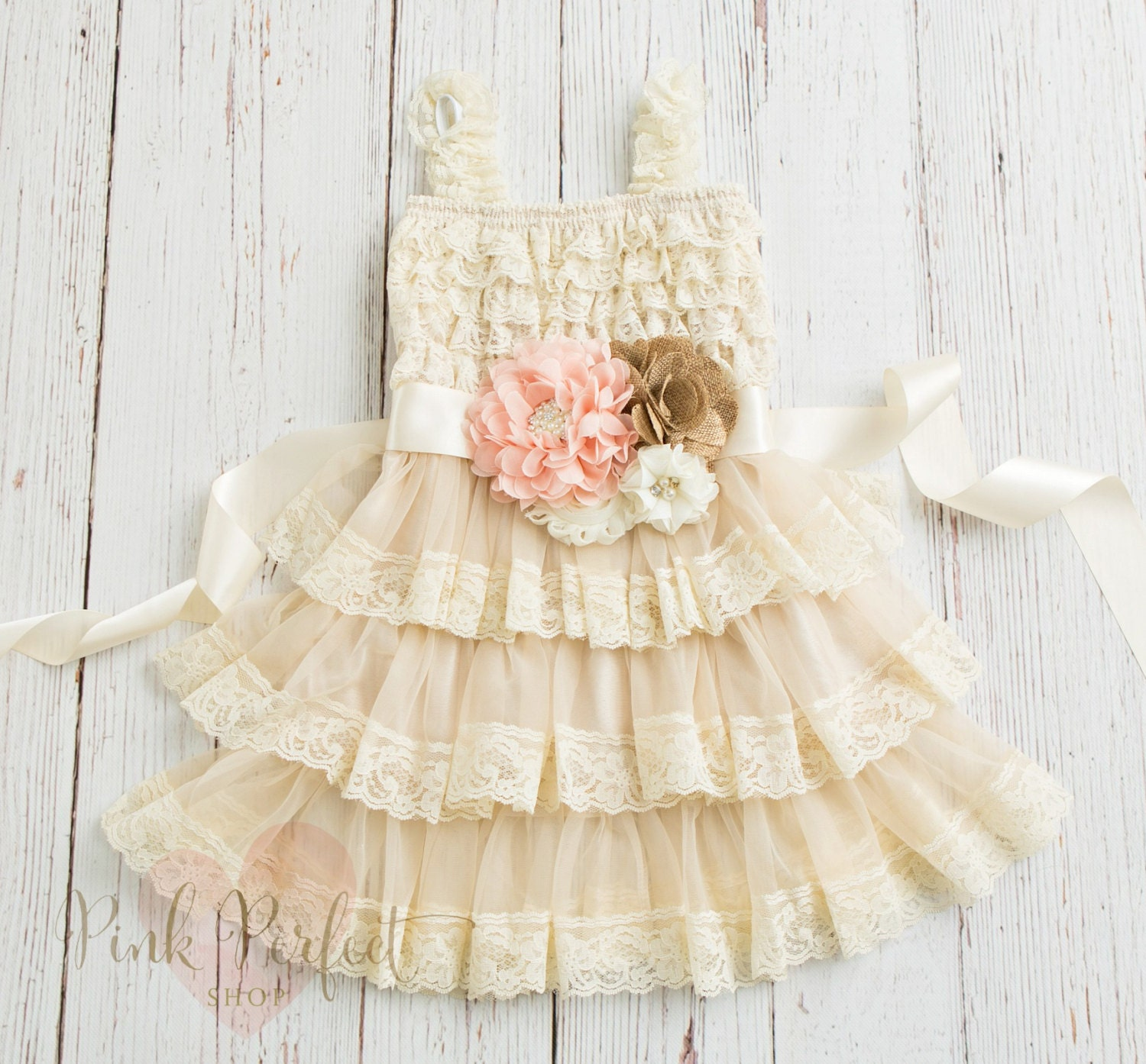 Blush Ivory Flower Girl Dress Country Flower Girl Dress