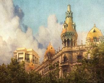 Barcelona Spain Architecture, Textured Turrets, Barcelona Wall Decor, Fine Art Photograph, Barcelona Art Print